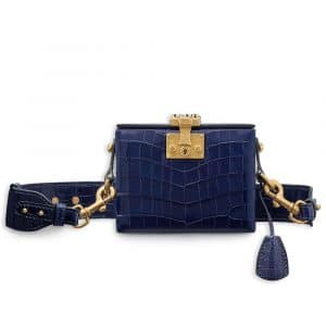 Dior Shiny Indigo Blue Nile Crocodile Dioraddict Small Trunk Bag