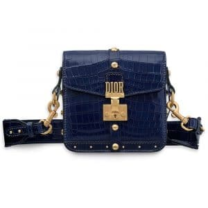 Dior Shiny Indigo Blue Nile Crocodile Dioraddict Square Flap Bag