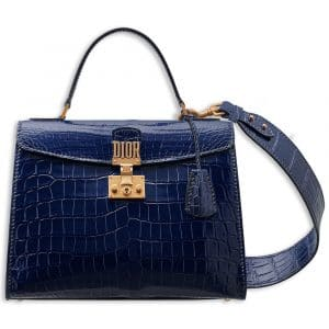 Dior Shiny Indigo Blue Nile Crocodile Dioraddict Top Handle Bag