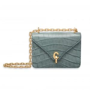 Dior Shiny Sea Blue Nile Crocodile C'est Dior Mini Flap Bag