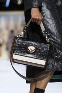 Fendi Black/White Crocodile Kan I F Bag - Spring 2018