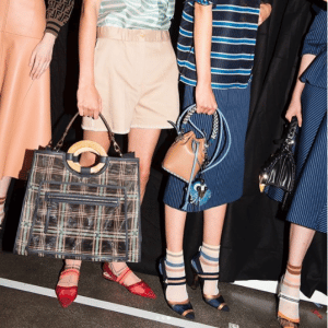 Fendi Blue Plaid Runaway and Tan and Black Mon Trésor Bucket Bags - Spring 2018