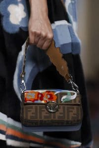 Fendi Brown Floral/FF Pattern Baguette Bag - Spring 2018