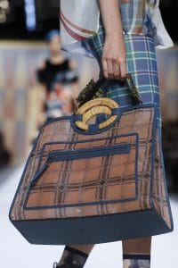Fendi Brown/Blue Plaid Runaway Bag - Spring 2018