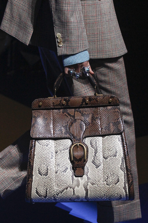 Gucci Brown Natural Python Top Handle Bag Spring 2018