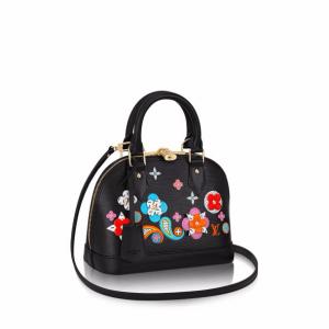 Louis Vuitton Black Epi with Floral Patches Alma BB Bag