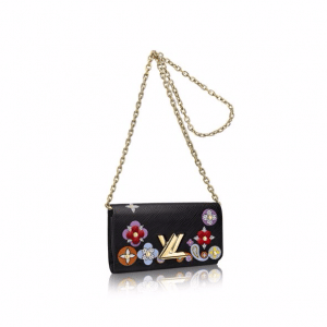 Louis Vuitton Black Epi with Floral Patches Twist Chain Wallet Bag