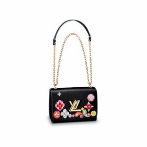 Louis Vuitton Black Epi with Floral Patches Twist MM Bag