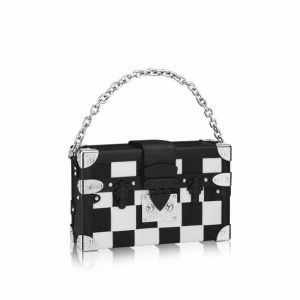 Louis Vuitton Black/White Crystal Incrusted Petite Malle Bag