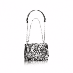 Louis Vuitton Black/White Epi Floral Twist PM Bag