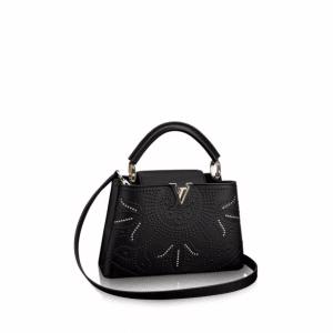 Louis Vuitton Noir Capucines Trunk Lotus BB Bag