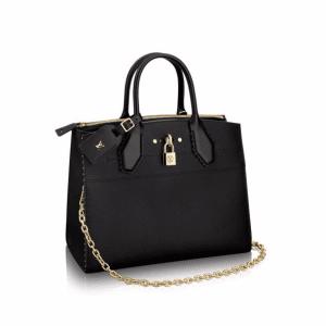 Louis Vuitton Noir Studded Edges City Steamer MM Bag