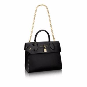 Louis Vuitton Noir Studded Edges City Steamer One Handle Bag