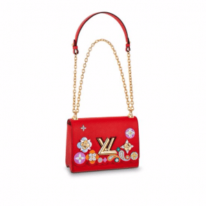 Louis Vuitton Red Epi with Floral Patches Twist MM Bag