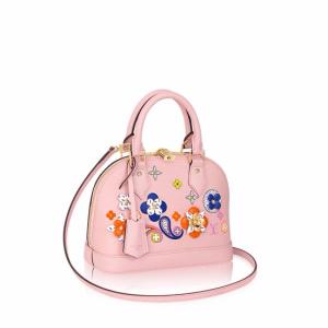 Louis Vuitton Rose Ballerine Epi with Floral Patches Alma BB Bag