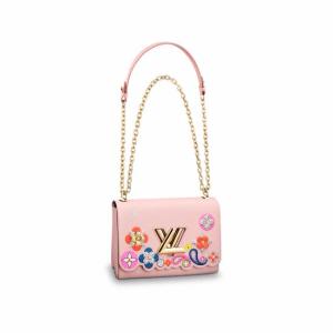 Louis Vuitton Rose Ballerine Epi with Floral Patches Twist MM Bag