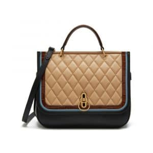 Mulberry Black / Castle Blue / Marrone & Latte Silky Calf & Croc Print Amberley Bag