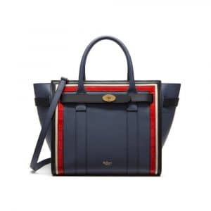 Mulberry Black / Chalk / Red Fox & Elephant Silky Calf & Croc Print Small Zipped Bayswater Bag