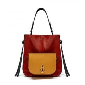 Mulberry Crimson / Black & Gold Ochre Haircalf & Silky Calf Amberley Hobo Bag