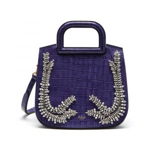 Mulberry Dark Amethyst Croc Print Brimley Bag
