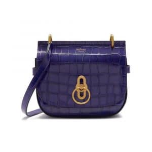 Mulberry Dark Amethyst Croc Print Small Amberley Satchel Bag