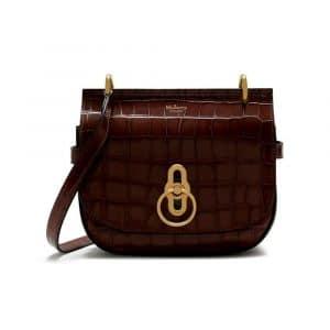 Mulberry Dark Brown Croc Print Small Amberley Satchel Bag