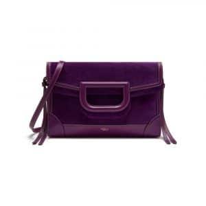 Mulberry Dark Violet Silky Calf & Suede Brimley Envelope Bag