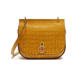 Mulberry Gold Ochre Croc Print Amberley Satchel Bag