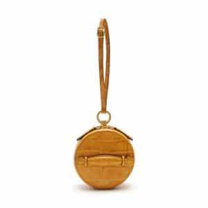 Mulberry Gold Ochre Croc Print Mini Trunk Bag