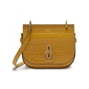 Mulberry Gold Ochre Croc Print Small Amberley Satchel Bag