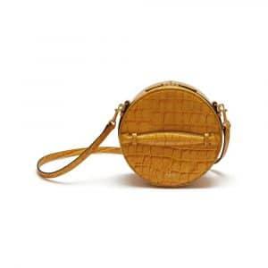 Mulberry Gold Ochre Croc Print Trunk Bag