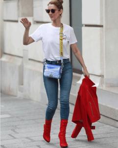 Off-White Light Blue Binder Clip Bag