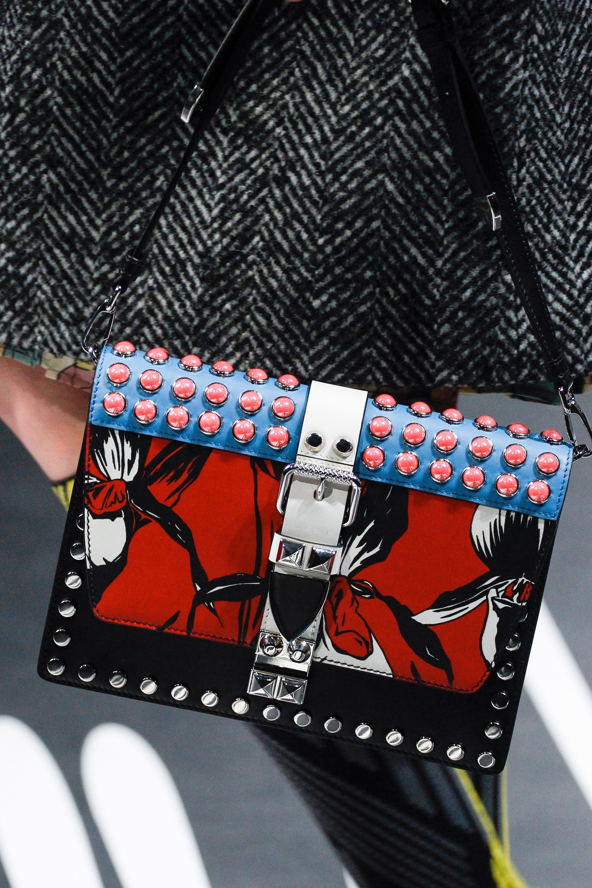 a369bb643b5a92 Prada Black Multicolor Studded and Printed Flap Bag - Spring 2018