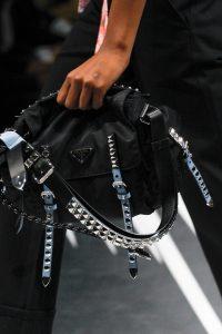 Prada Black Studded Nylon Shoulder Bag - Spring 2018