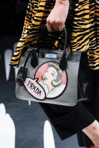 Prada Black/Gray Printed Top Handle Bag - Spring 2018