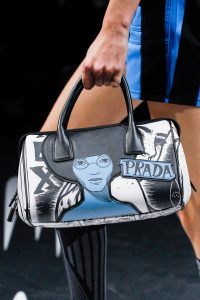 Prada Black/White/Blue Printed Duffle Bag 2 - Spring 2018