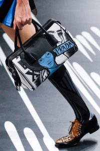 Prada Black/White/Blue Printed Duffle Bag - Spring 2018