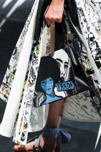 Prada Black/White/Blue Printed Light Frame Shoulder Bag - Spring 2018