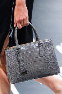 Prada Gray Crocodile Top Handle Bag - Spring 2018