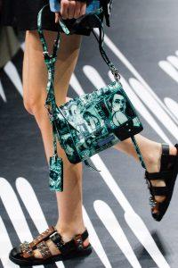 Prada Green/Black Printed Etiquette Shoulder Bag - Spring 2018