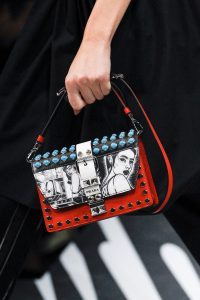 Prada Red/White Studded and Printed Flap Bag - Spring 2018