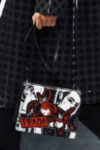 Prada White/Black Printed Light Frame Shoulder Bag - Spring 2018