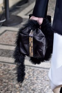 Proenza Schouler Black Silk with Fur Clutch Bag 2 - Spring 2018