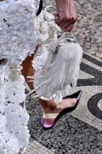 Proenza Schouler White Fur with Feather Minaudiere Bag 2 - Spring 2018