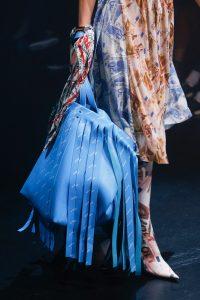 Balenciaga Sky Blue Monogram Fringed Tote Bag - Spring 2018