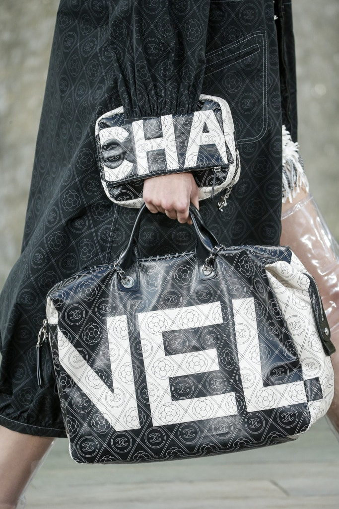 f7aacd1a3a Chanel Black White Logo Embroidered Top Handle and Arm Bags - Spring 2018