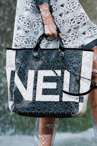Chanel Black/White Logo Embroidered Tote Bag 2 - Spring 2018