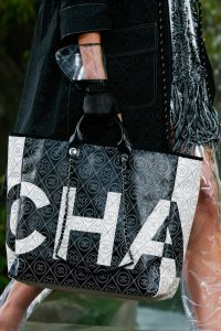 Chanel Black/White Logo Embroidered Tote Bag - Spring 2018