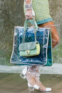 Chanel Blue/Green PVC Tote and Light Green Sequined Classic Flap Bags 2 - Spring 2018