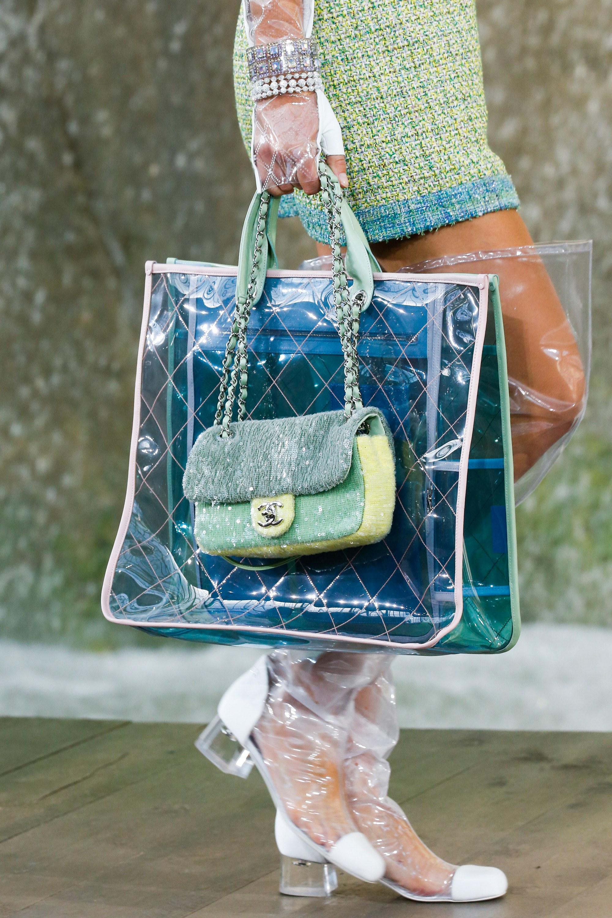 394695a8287416 Chanel Blue/Green PVC Tote and Light Green Sequined Classic Flap Bags 2 -  Spring